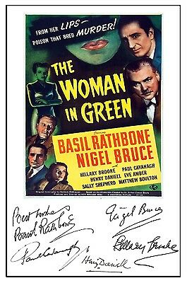 Sherlock Holmes Woman In Green (Rathbone) - Cast Signed (Pre Printed) A4 Poster