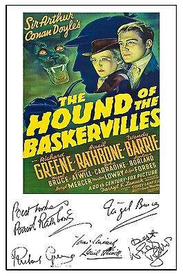 Sherlock- Hound Of Baskervilles (Rathbone) - Cast Signed (Pre Printed) A4 Poster
