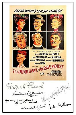The Importance Of Being Earnest - Cast Signed (Pre Printed) A4 Poster