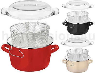 New 5L Retro Deep Fat Fryer Chip Pan Pot Pyrex Lid Stainless Steel Basket Enamel