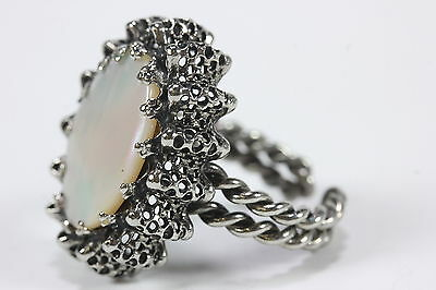 Vintage West Germany MOP Mother of Pearl Silver Ring Adjustable Twisted Band