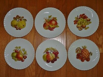 FRUIT or DESSERT PLATES SET OF 6 with 6 DESIGNS BY BURLEIGH WARE