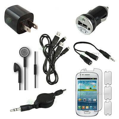 10pc NEW 2X USB Cable+Car/Wall Charger+Headset for Phone Samsung Galaxy S4 Mini