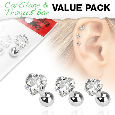 Value Pack of 3 Assorted Cartilage Bars with Heart Gem Tops 1.2mm x 6mm