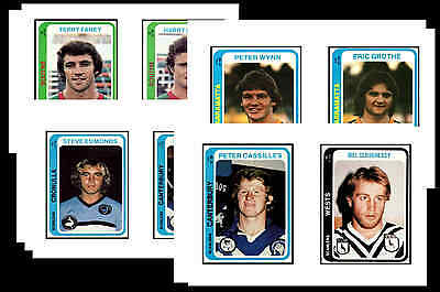 Nrl Rugby League (1979) - Gum Card/ Postcard Set # 2