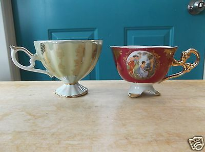 Two Fancy Iridescent China Tea Cups - One is Norcrest Japan