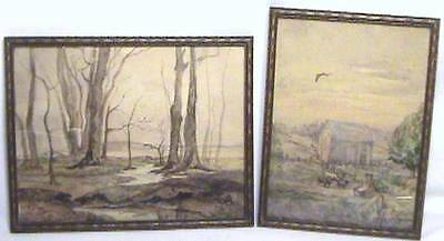 Pair 2 Antique 1900 American Folk Art Painting Rural New York Farm Cow Landscape
