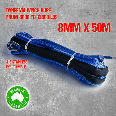 Dyneema SK75 Synthetic Winch Rope, Cable 8mm x 50m, 4WD Boat Recovery Offroad