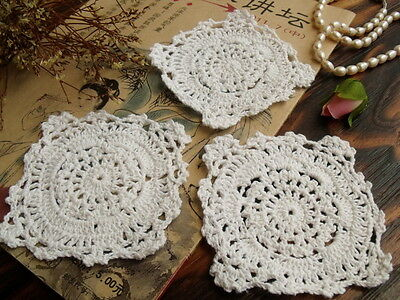 3PCS Lot -Vintage HAND Crochet Lace Doily WHITE Cotton Pretty Lovely - Wedding