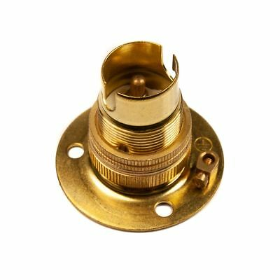 Batten Lamp Holder Brass Earth and Shade Ring Small Bayonet Cap (SBC) (B15d)