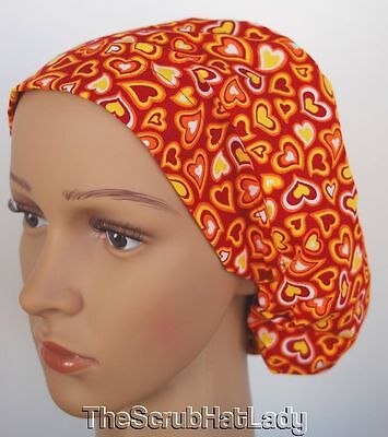 Surgical Scrub Hat, Close Fit I or II, Hearts Burnt Orange Yellow Maroon I226