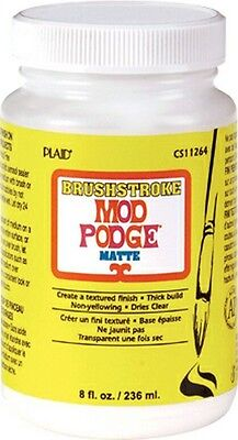 MOD PODGE EXTRA THICK 8oz MATTE MAT BRUSHSTROKE TEXTURE WATERBASED GLUE VARNISH