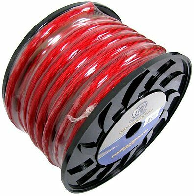 NEW BULLZ AUDIO 1/0 Gauge 25 FT Xtreme Twisted Pro Power Ground Wire Cable | Red