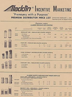 #MISC-0231 - ALADDIN THERMOS and LUNCH BOX catalog price list 1975
