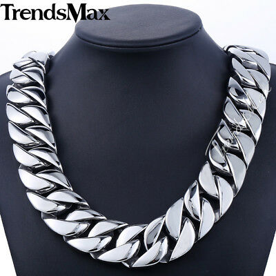 31mm Huge Curb Mens Chain Silver Tone 316L Stainless Steel Necklace HEAVY