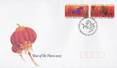 2002 Christmas Island Year of The Horse (Gummed Pair) FDC