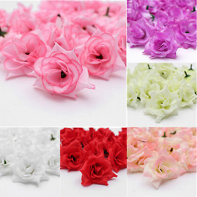 """25Pcs Roses Artificial Silk Flower Head Lot 1.75"""" Wedding Home Party Decoration"""
