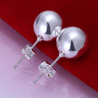 New Fashion women lady hot cute silver Plated 8MM Solid beads stud Earring E73