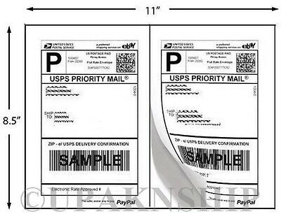 200 Paypal Shipping Postage Labels/ 2 Labels to Page 8.5x5.5 with Square Edges