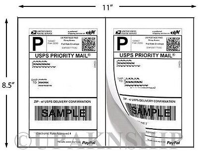 1000 Premium Paypal Postage Labels/ 2 Labels to Page 8.5x5.5 w/ Square Edges
