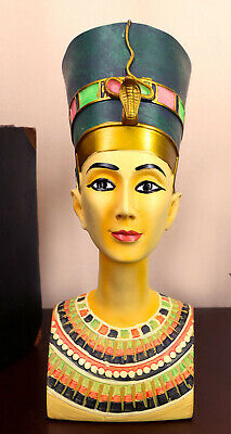 "Ancient Egyptian Decorative Queen Nefertiti Bust Figurine 9.25""H Vivid Color"