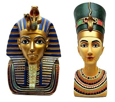 "9.25"" Tall Ancient Egyptian Pharaoh King Tut & Queen Nefertiti Bust Figurine Set"