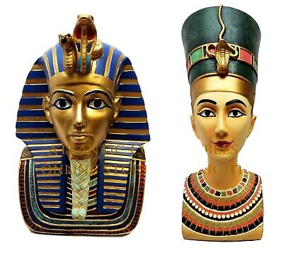Ancient Egyptian Pharaoh King Tut And Nefertiti Bust Mask Statue Royalty Pair