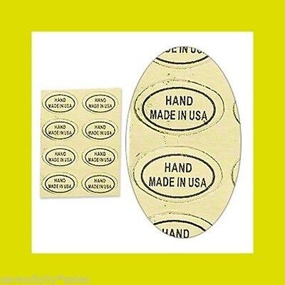 """500 Peel Off Adhesive LABELS tag ~ Oval 1/2"""" x 5/16""""  Marked """"HAND MADE in USA"""""""