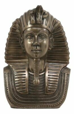 Egyptian Pharaoh King Tut Bust Mask Statue Tutankhamun Figurine In Bronze Patina