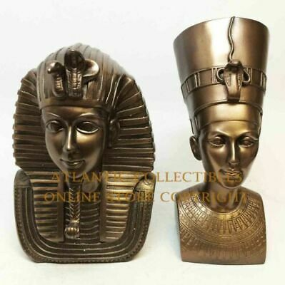 Bronzed Egyptian Pharaoh King Tut And Nefertiti  Bust Mask Statue Set Of Two