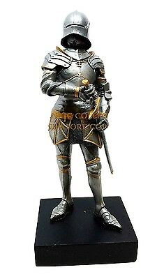 """Gothic Medieval Knight Short Sworsman Statue 9""""h Figurine Royal Suit Of Armor"""