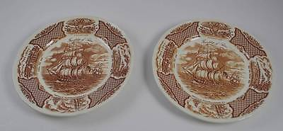 Two Alfred Meakin Fair Winds Dinner Plates Staffordshire Chinese Export