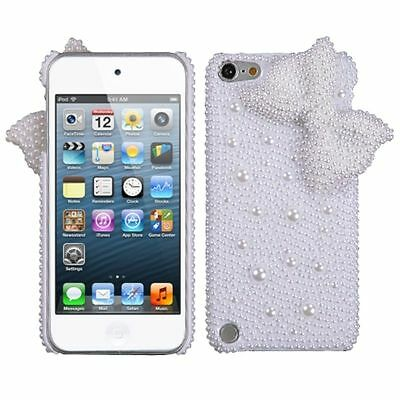 White Bow Pearl 3D Diamond Back Case For APPLE iPod touch 6th 5th generation