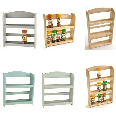 New Wall Mounted 2 / 3 Tier Wood Wooden Spice Herb Storage Rack Jar Holder Stand