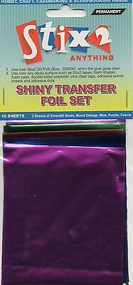 10 Sheets Transfer Foils Assorted Colours Shiny Green Orange Purple Blue Fuschia