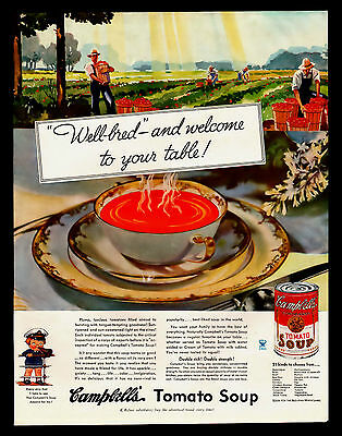 "Antique Original 1934 ""campbell's Soup"" Vintage Tomato Farming Art Print Ad"