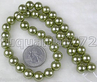 Rare Strand AAA 10mm Sea shell Pearl Beads 15inch