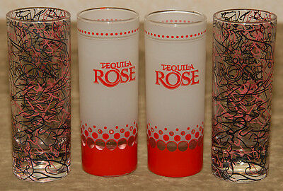 LOT of 4 - TEQUILA ROSE - Colorful Red Pink - TALL GLASS SHOOTER - SHOT GLASSES
