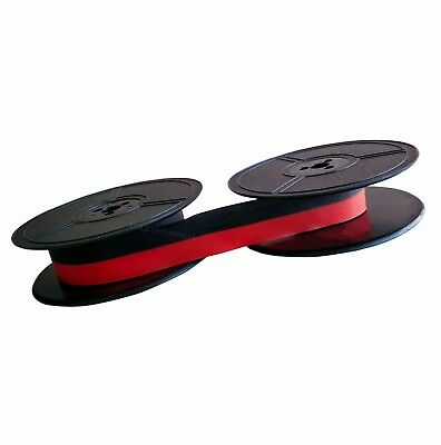 2x BLACK RED GROUP 1 1001FN TYPEWRITER INK RIBBONS - TWIN SPOOL FABRIC 1001 FN