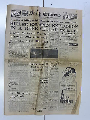 The Daily Express Newspaper 1939 Antique Collectible Hitler Escapes Explosion