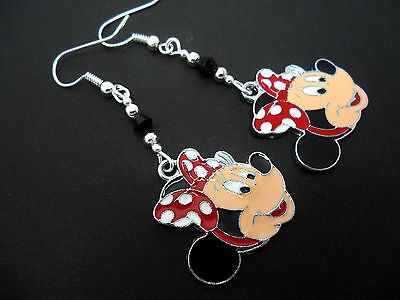 A PAIR OF  DANGLY MINNIE MOUSE & BLACK CRYSTAL BEAD  EARRINGS. NEW.