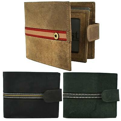 NEW Mens Stoned Washed Effect LEATHER Tabbed Tri-Fold WALLET by St James Quality