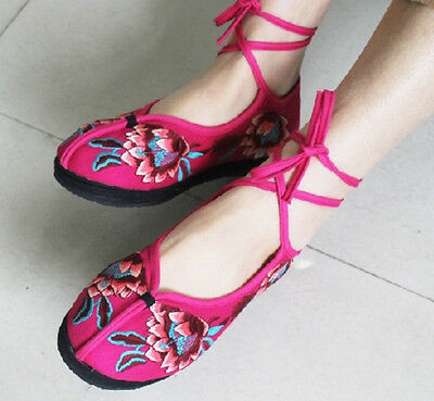 beijing style embroidered ankle strap cotton Chinese multi-color shoes  X609