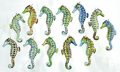 """12 Seahorse Cloisonne Enamel Ornaments, Multicolor, Holiday, Articulated, 3"""""""