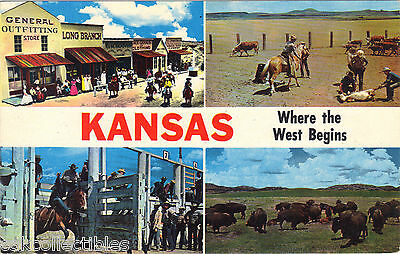 Multi View Post Card-Kansas Where the West Begins