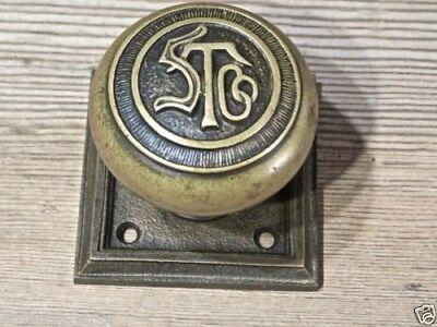 old Door knob square back plate bronze STCo monogram Rockland RHC personalized