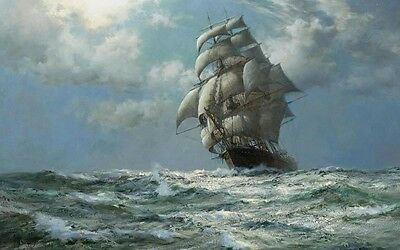 "Canvas Print Sailboat Ship Oil painting Picture Printed on canvas 16""X24"" P120"