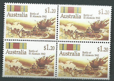 1942 Battle of El Alamein Military ANZAC Stamps Australia Block of 4 MNH 1992