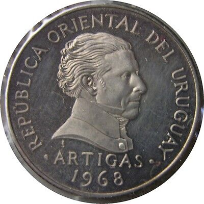 elf Uruguay 10 Pesos 1968  Artigas  Pattern in Silver  1,000 Minted