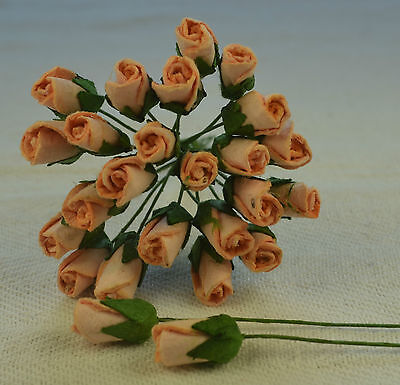 48 PEACH ROSE BUDS (L) Mulbery Paper Flowers for wedding miniature cards